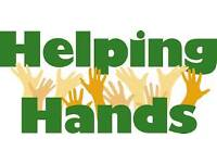 Helping hands with children and old people.