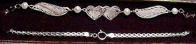 New 14K Solid White Gold Winged Anklet w/DIA Heart-Free Shipping!