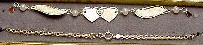 New 14Kt Solid Gold w/DIA Heart Winged Anklet -Free Shipping!