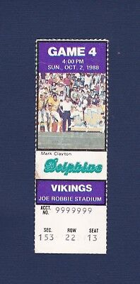 Miami Dolphins vs Minnesota Vikings 1988 football ticket stub Dan Marino 2-TD's