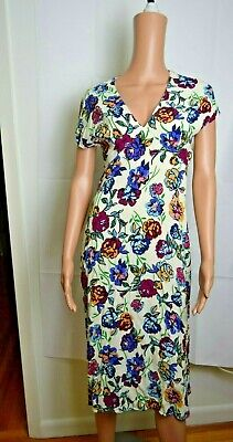 Zara Trafaluc Colorful Floral Print Midi Short Sleeve Dress XS