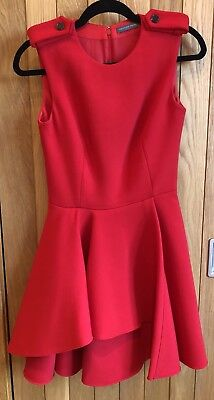 Stunning Alexander McQueen Red Military Fit and Flare Dress, Size 38