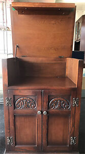 1940 - 50s, Old English Oak, Gramophone stand and cupboard. Glenthorne Greater Taree Area Preview
