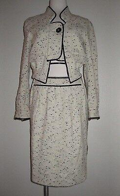 NEW Yves Saint Laurent YSL White & Black Wool Blazer Jacket Skirt Suit 36 US 4 S