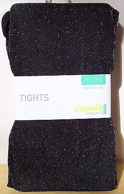 Silver Girls Tights (Girls Capelli Kids Black Metallic Silver Speck Holiday Dress Tights Sz M)