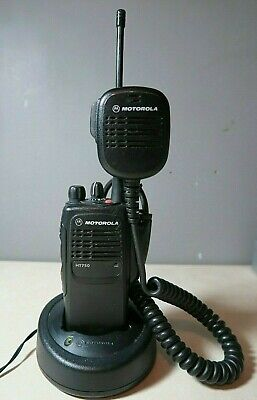 Motorola Ht750 Uhf Radio Aah25rdc9aa3an 16 Channels 403-470 Mhz W Charger Mic