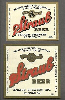 2 Diff - Straub Beer Label, IRTP, Straub Brewery,  St. Marys, PA  12 oz & 32 oz