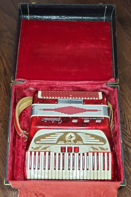 Galanti Custom Vintage Red Piano Accordion 41 Keys, Plays, With Vintage Case