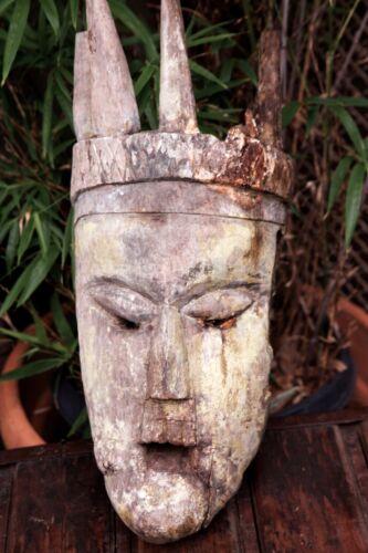 """Large Primitive Tribal Vintage African Mask Hand Carved Wood Native Art 21"""""""