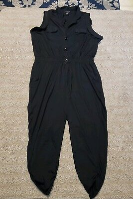 Love Chelsey I DREAM OF GENIE Black Jumpsuit Pockets 2X Costume Romper
