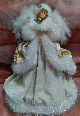 """WINTER FUR ACCENTS ANGEL IN IVORY +GOLD TREE TOPPER,TABLE DECOR Christmas 12"""""""