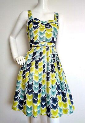 Designer HI THERE from KAREN WALKER print dress size 14 --USED ONCE--knee length