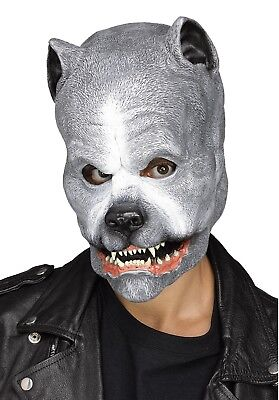Grey Pit Bull Latex Mask Animal Snarling Dog Halloween Costume Accessory
