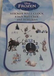 Disney FROZEN 4''  WALL CLOCK AND 16 STICKERS.