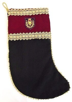 Christmas Stocking Handcrafted Holidays Winter Red Green and Gold Gorgeous New
