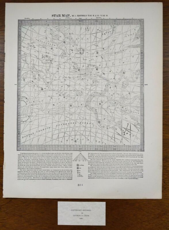 Vintage 1900 STAR MAP #1 ~ Old Antique Original ASTROLOGICAL CONSTELLATIONS