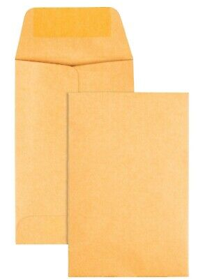100 Kraft Coin Envelopes 1 Size 2.25 By 3.5 With Gummed Flap Use For Coins