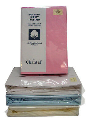 King Size Soft Cotton Jersey Fitted Sheet in Blue Cream Pink White Elasticated  ()