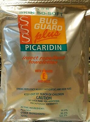❤Avon Skin So Soft Bug Guard Plus Picardin Insect Repellent Towelettes Pack of 8 (Avon Sss Bug Guard)