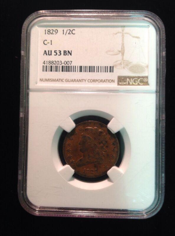 1829 1/2C C-1 NGC AU 53 BN Half Cent