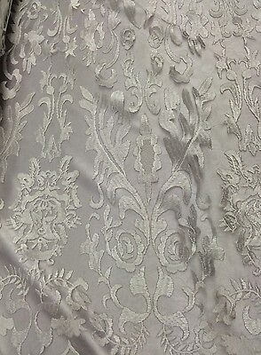 Modern Lace Damask (White Hollywood Damask 2 Way Stretch Modern Lace Fabric Sold By The Yard )