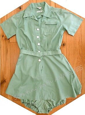 RARE 1940s Girl Scout Camp Uniform DRESS BLOOMERS BELT,  Halloween Costume - Girl Scout Uniform Costume