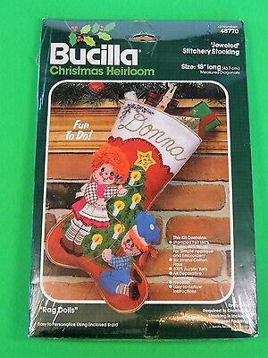 NIP Bucilla Christmas Heirloom 48770 Jeweled Stitchery Stocking Needlepoint Rag
