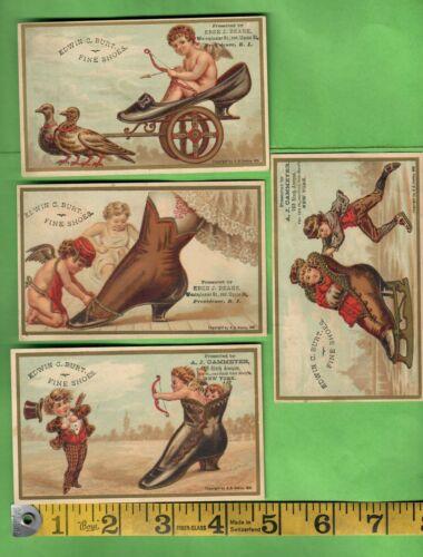 ANTIQUE VICTORIAN TRADE CARDS LOT OF 4 EDWIN C. BURT FINE SHOES PROVIDENCE RI