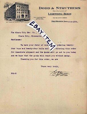 1908 letterhead DODD & STRUTHERS Des Moines IOWA lightning rods E. R. STOTTS