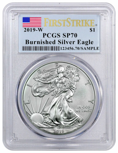 2019 W 1 oz Burnished American Silver Eagle PCGS SP70 FS Flag Label SKU58007