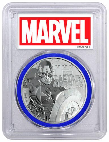 2019 Captain America 1oz Silver Marvel PCGS MS70 FS Blue Gasket SKU56991