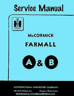Farmall A Av B Bn Service Manual Printed New Ih