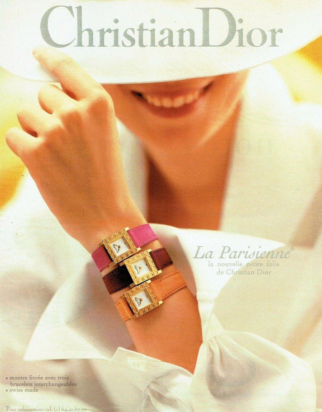 Publicité advertising 1019 1985  dior  montre la parisienne bracelets interchang