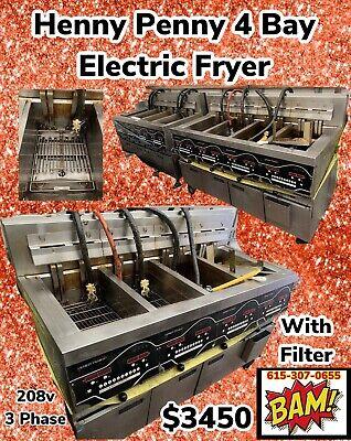 Henny Penny Electric 4 Bay Open Fryer W Filter Digital Programmable Controls