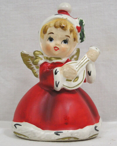 Vintage NAPCO Christmas Angel Holly on Hat Red Dress Playing Instrument 3 5/8""