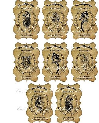 Halloween steampunk mermaid tears apothecary bottle stickers set of 8 scrapbook