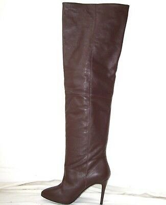 ACNE Brown Leather Spike Heel OTK Thigh Boots 39 9