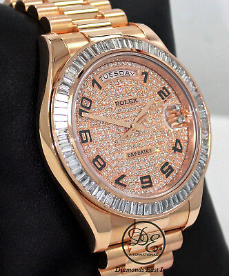 Rolex President Day-Date 41mm 218235 18K Rose Gold 6CT Bezel Pave Diamond Dial