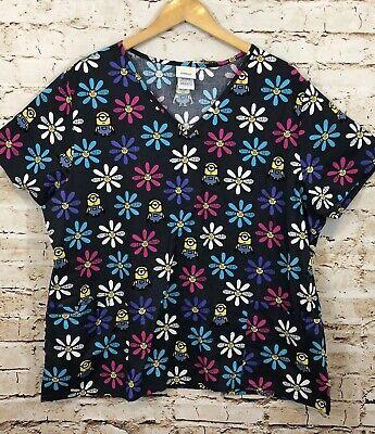Despicable Me Minion scrub top shirt women 2X gray floral short slv new nwot A11](Minion Scrub Top)