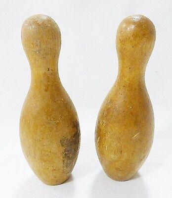 Vintage Miniatur Holz Bowling Pins 2er Set