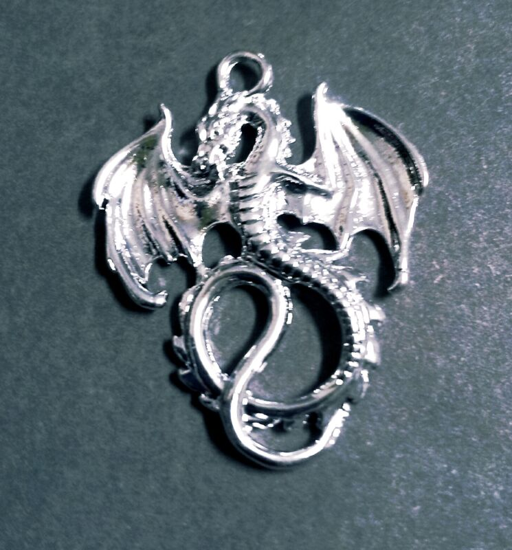 Large Dragon Pendant Antiqued Silver Fairy Tale Charm Medieval 2 Sided Ornate