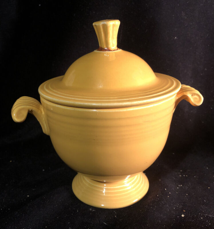 Vintage Fiestaware Fiesta Homer Laughlin Yellow Sugar Bowl w/ Handles & Lid