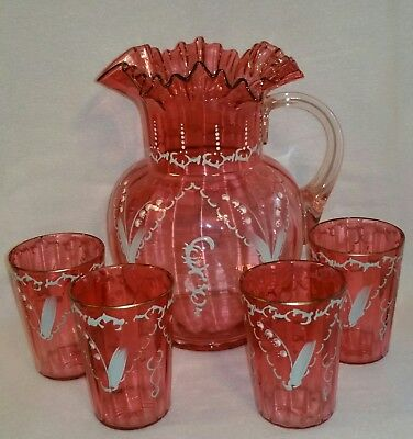 Antique Victorian Lemonade Set Blown Enameled Cranberry Glass matching Tumblers
