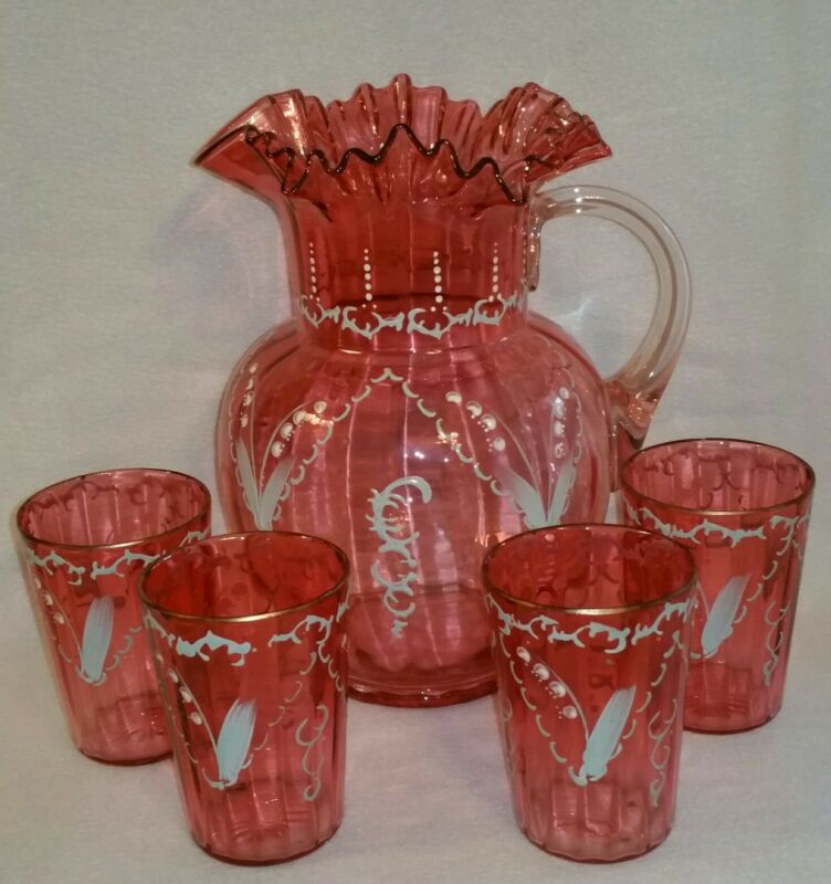 Antique Victorian Lemonade Set Blown Enameled Cranberry Glass matching Tumblers