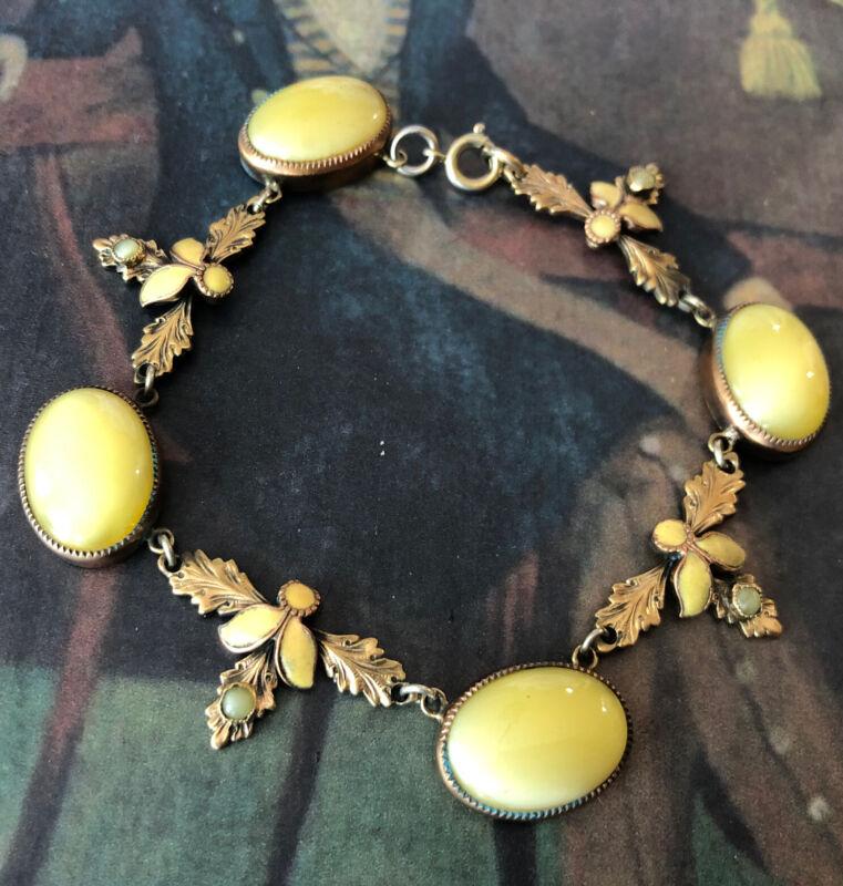 Antique Art Deco Neiger? Czech Lemon 🍋 Glass Enamel Fab Bracelet