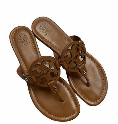 Tory Burch Miller Sandals Brown Flip Flops Vintage Vachetta Leather Size 8 Shoes