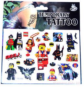 LEGO TATTOO SHEET BATMAN Childrens Birthday Party Gift Bag Filler Movie Loot