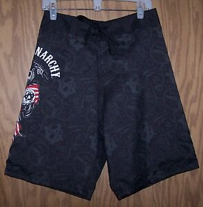 SONS OF ANARCHY PATRIOTIC USA FLAG BOARD SHORTS swimming trunks - Size XLarge