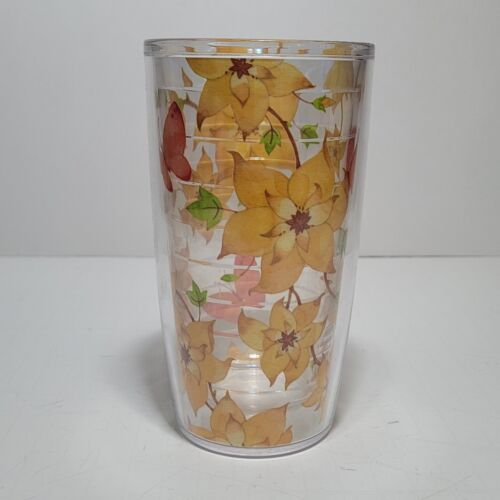 (1) TERVIS TUMBLER 16oz Clear Cup Floral / Butterfly no lid -  Adorable!