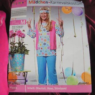 Mädchen Karneval Kostüm Hippi Größe M Set 3-teilig Rosa Blumen Stirnband Hose